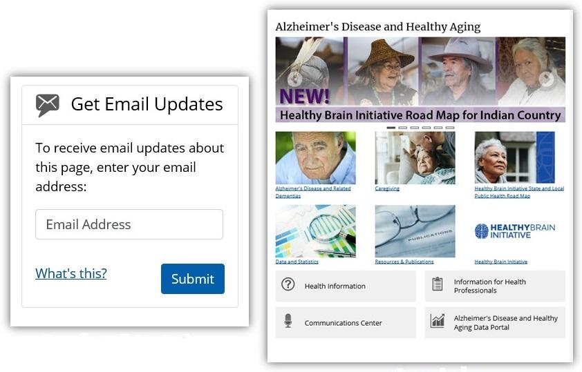 Screen shots from Healthy Brain Initiative website.