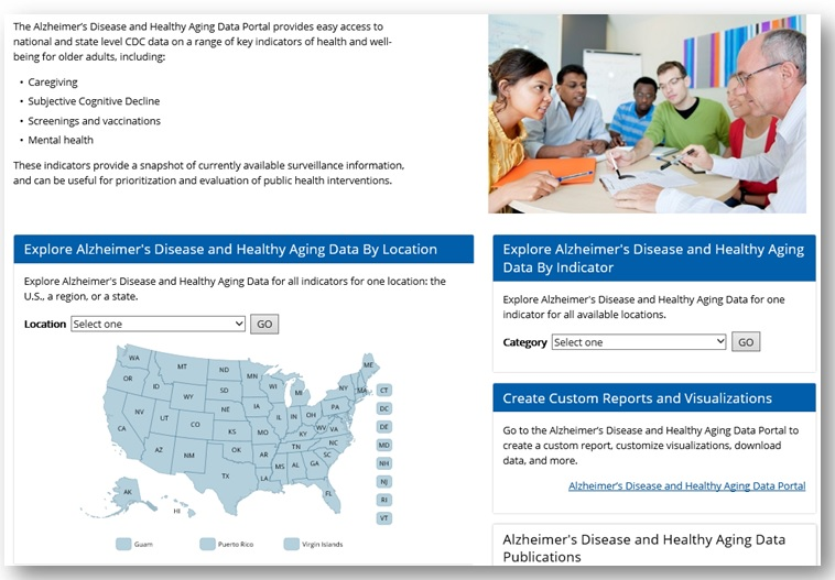 Screen shot of Alzheimer's Disease and Healthy Aging Data Portal webpage.