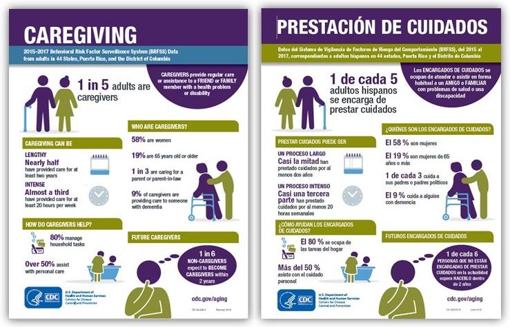Screen shot of Caregiving infographics.