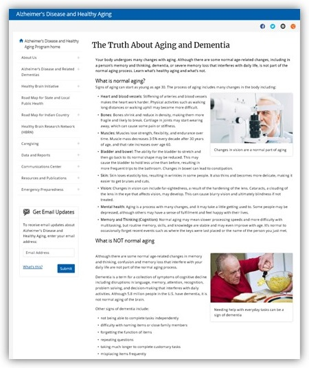 Screen shot of The Truth About Aging and Dementia.