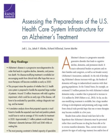 Screen shot of Assessing the Preparedness of the U.S. Health Care System Infrastructure for an Alzheimer's Treatment.