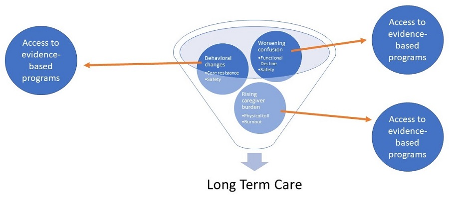 Balls in a funnel toward Long Term Care. The balls represent what needs access to evidence-based programs: Behavioral changes (care resistance, safety); Rising caregiver burden (physical toll, burnout); Worsening confusion (functional decline, safety).