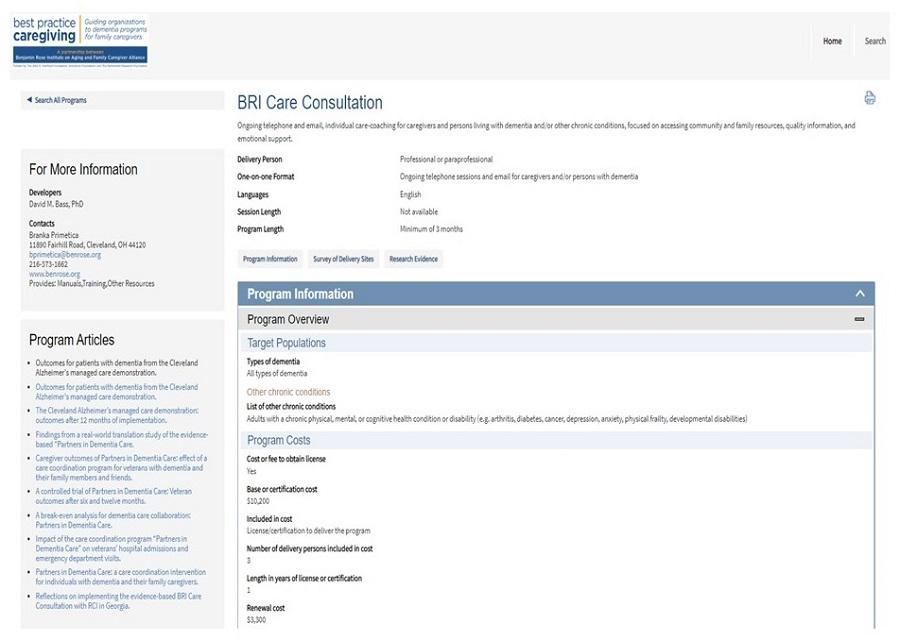 Best Practice Caregiving website screen shot.