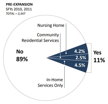 PIE CHART: No 89%, Yes 11% (Nursing Home 4.2%, Community Residential Services 2.5%, In-Home Services Only 4.5%).
