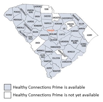 South Carolina State Map, by County: All counties have Healthy Connections Prime available, except for Aiden, York, Lancaster, Dorchester, Darlington and Horry.