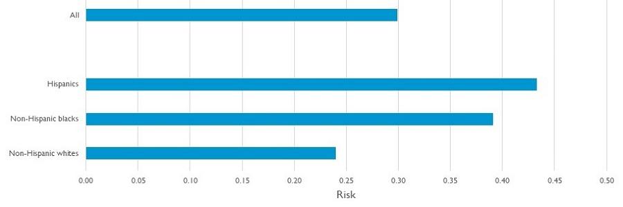 Bar Chart, showing All, Hispanics, Non-Hispanic blacks and Non-Hispanic whites for a Risk of 0.00 to 0.50.