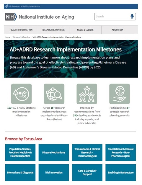 Screen shot of AD+ADRD Research Implementation Milestones website.