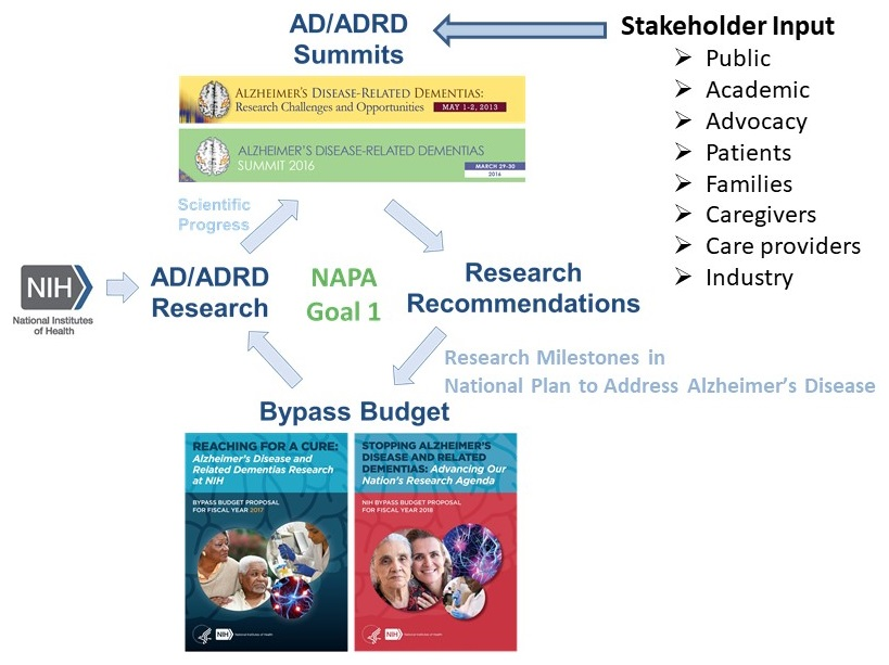 Diagram showing the relationship between the AD/ADRD Summits, AD/ADRD Research, Research Recommendations and Bypass Budget.