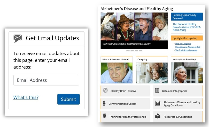 Screenshots of Newsletter Subscription page and CDC Aging page.