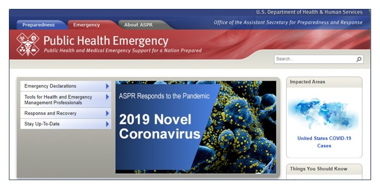 Public Health Emergency screen shot.