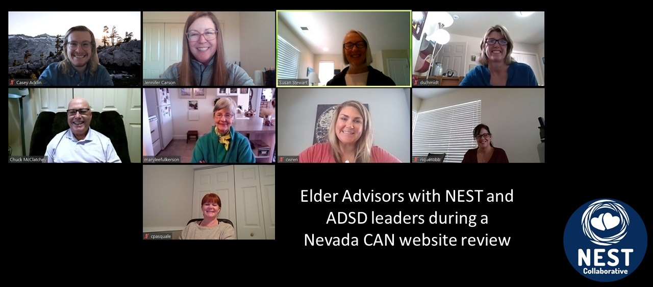 Elder Advisors with NEST and ADSD leaders during a Nevada CAN Website Review screen shot.