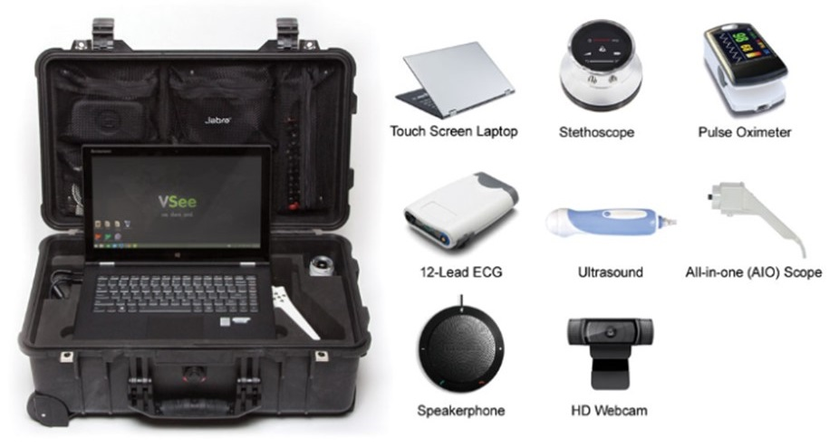 Screen shot of telemedicine bag with contents, such as touch screen laptop, stethoscope, pulse oximeter, 12-lead ECG, ultrsound, all-in-one scope, speakerphone, HD webcame.