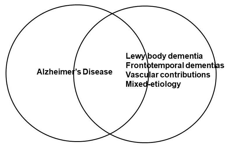 Overlapping Circles, one for Alzheimer's Disease, the other for Lewy body dementia/Frontotemporal dementias/Vascular contributions/Mixed-etiology.