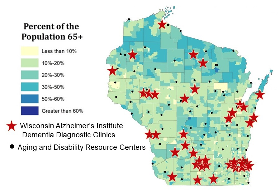 Map of Wisconsin, broken down by 6 population percentages of residents 65+. Wisconsin Alzheimer's Institute Dementia Diagnostic Clinics, and Aging and Disability Resource Centers are marked.