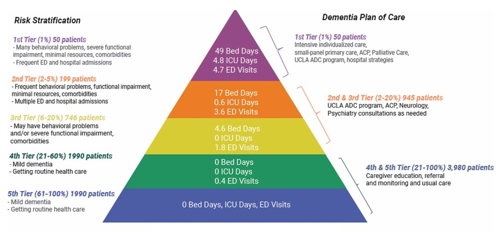 Pyramid graphic describing the Total Number and Yearly Minimum Utilization by Risk Tier, as well as the Risk Stratification and Dementia Plan of Care.