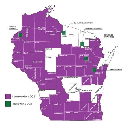 Map of Wisconsin, broken down by county. Highlights the counties with a DCS, and tribes with a DCS.