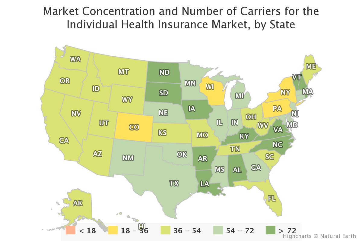 Market Concentration and Number of Carriers for the Individual Health Insurance Market, by State