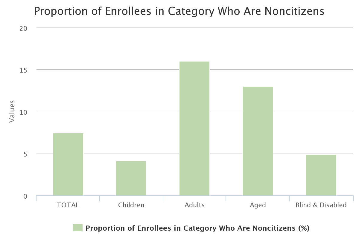 Proportion of Enrollees in Category Who Are Noncitizens