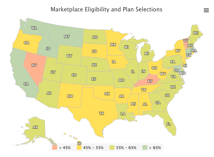Marketplace Eligibility and Plan Selections map chart